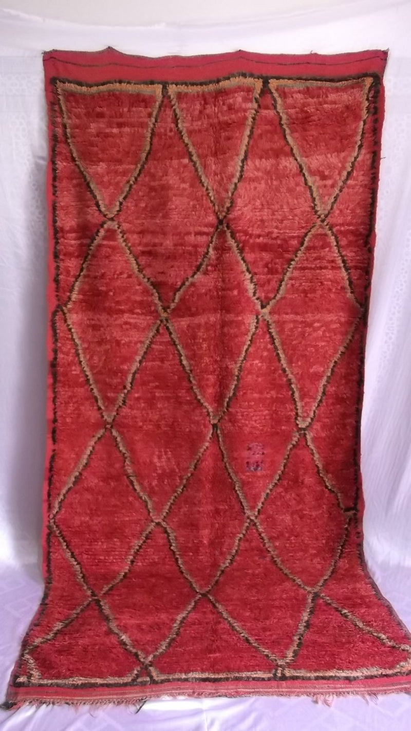 Red Berber Carpet  Morocan tribal Handmade #B07#