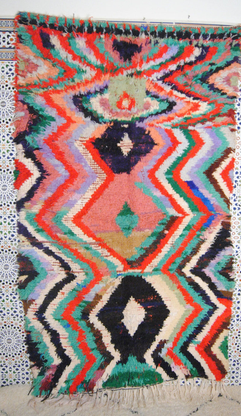 Amagan boucherouite rug tapis berbere psychedelic tapestry moroccan rugs - HammoudRugs