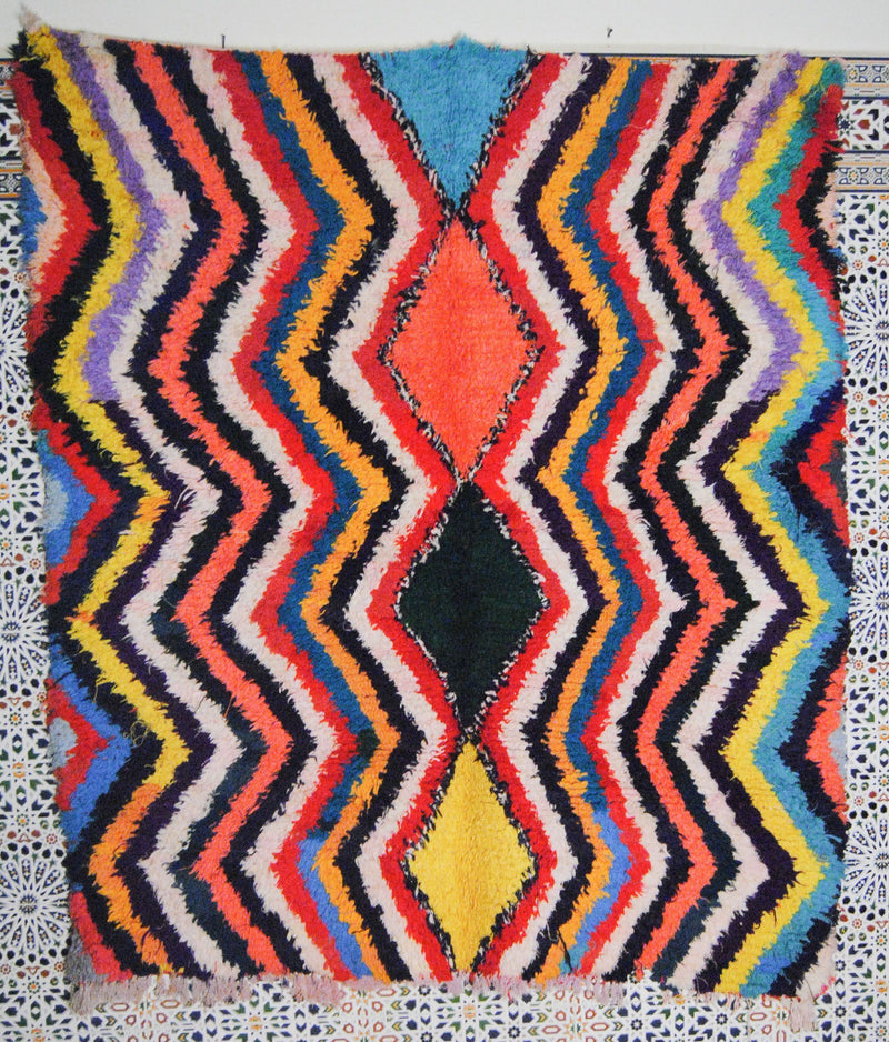 Afesdiyas boucherouite rug tapis berbere psychedelic tapestry moroccan rugs - HammoudRugs