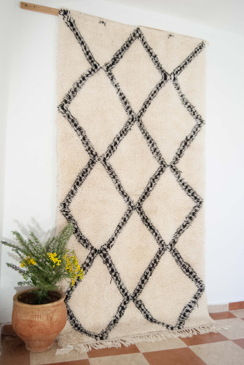 Beni ourain rug , The Athentic Black and White rug, The Moroccan Minimalist Berber White Area rug.