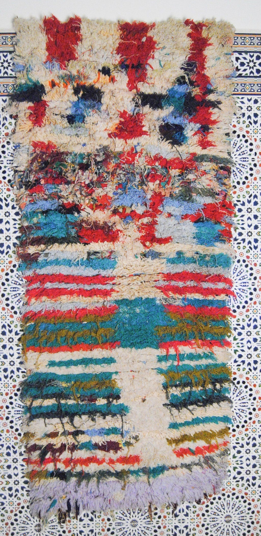 Amanar  boucherouite rug tapis berbere psychedelic tapestry moroccan rugs - HammoudRugs