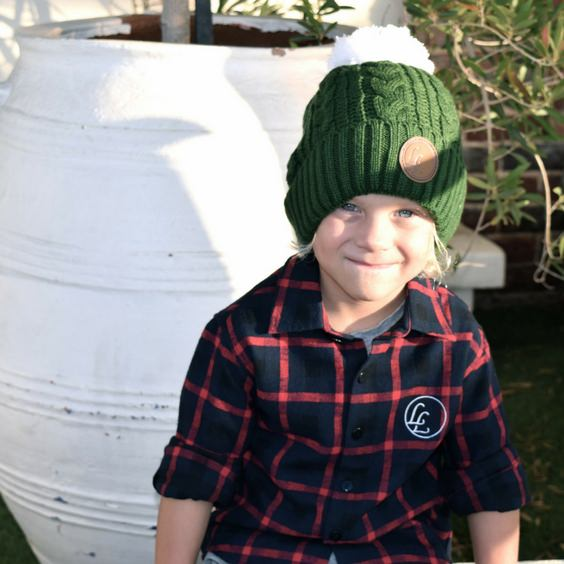 cute kids knit beanie hunter green pom pom little lords royal rhino