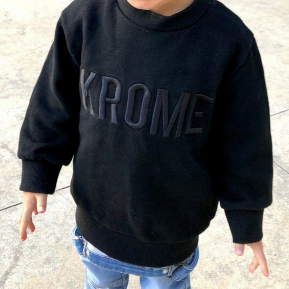 krome embroidered crew winter jumper kids stylish royal rhino