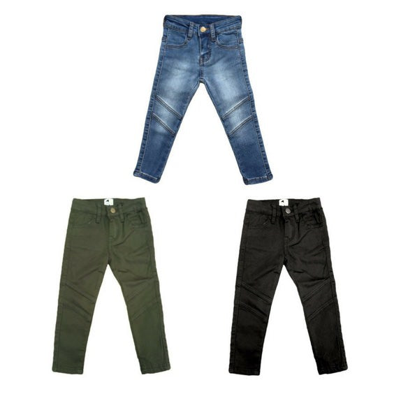 Krome Kids khaki jeans royal rhino blue jet black