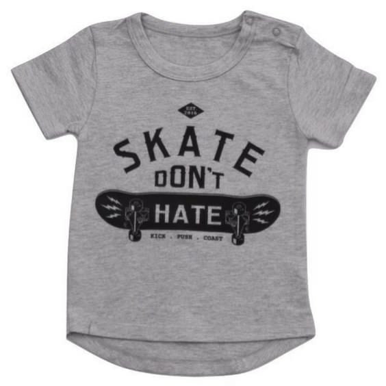 little lords skate dont hate tee grey royal rhino