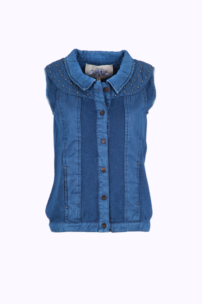 VEST WITH STONES - INDIGO BLUE