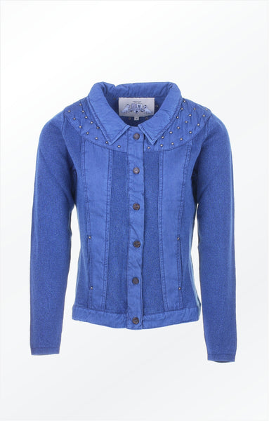 CARDIGAN WITH STONES - INDIGO BLUE