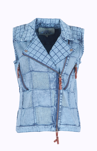 EDGY LOOKING VEST - LIGHT INDIGO BLUE