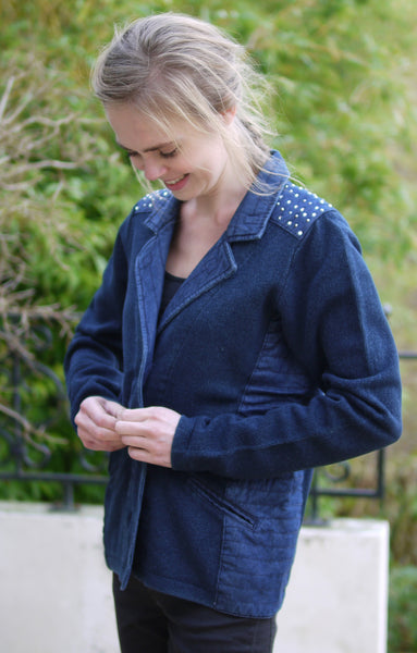 JACKET WITH RHEIN STONES - INDIGO BLUE