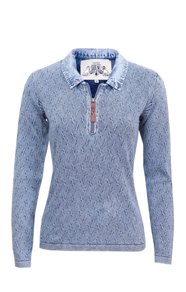 BASIC AND ELEGANT PULLOVER - LIGHT INDIGO BLUE