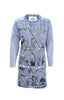 Long-Sleeved Printed Dress in Light Indigo Blue. Piece of Blue.