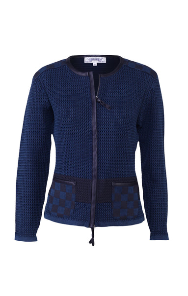Jacket with print in dark blue. Piece of Blue.
