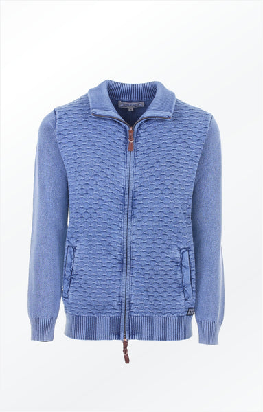 Classic all 'round cardigan in light indigo blue. Piece of Blue