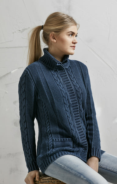 LONG CARDIGAN WITH BIG CABLES - DARK INDIGO BLUE