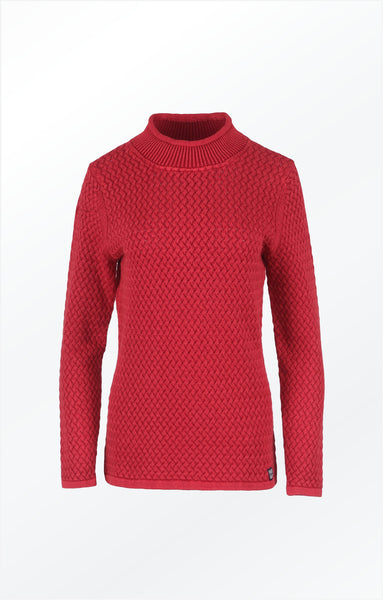 COSY TURTLE NECK PULLOVER - CHILI