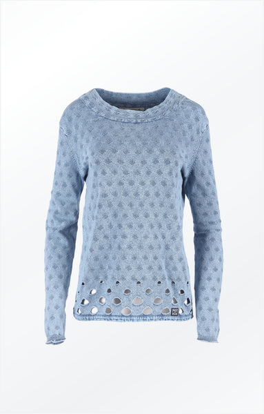 FEMININE BOAT NECK PULLOVER - LIGHT INDIGO BLUE