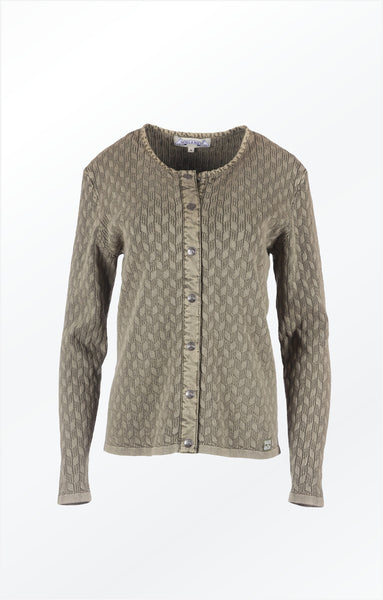 O-NECK CARDIGAN - OLIVE GREEN