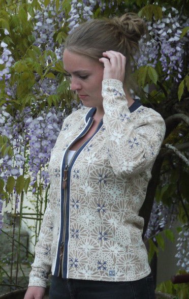 Elegant flower Printed Cardigan in Warm Sand from Piece of Blue on model.