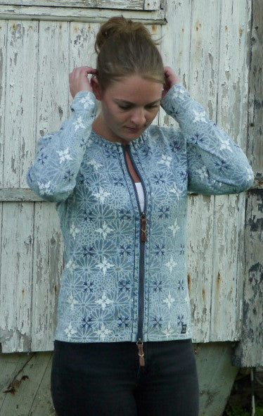 Elegant flower Printed Cardigan in Light Indigo Blue from Piece of Blue on model