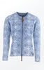 Elegant flower Printed Cardigan in Light Indigo Blue from Piece of Blue