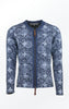 Elegant flower Printed Cardigan in Dark Indigo Blue. From Piece of Blue