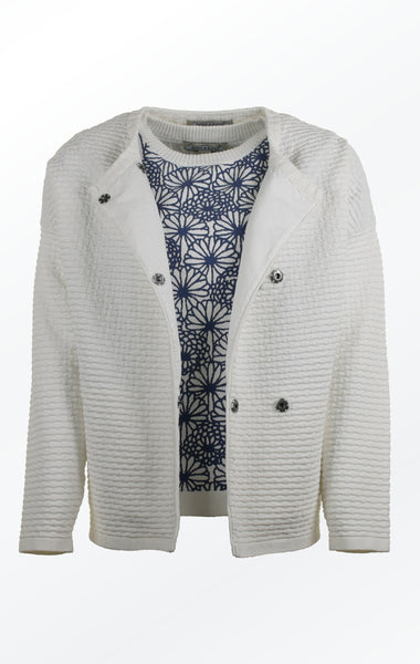 Knit Jacket in White with Oversized Shoulders for Women from Piece of Blue. Open Jacket
