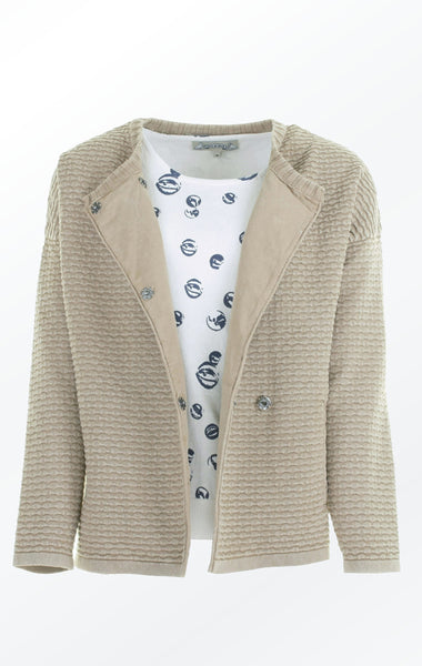 Knit Jacket in Warm Sand color with Oversized Shoulders for Women from Piece of Blue. Open Jacket