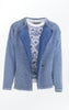 Knit Jacket in Light Indigo Blue with Oversized Shoulders for Women from Piece of Blue. Open jacket