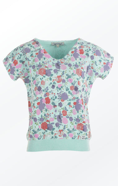 Feminine Mint Green flower Printed Pullover for her from Piece of Blue