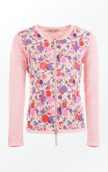 Feminine Rose Colored flower Printed Cardigan for Women from Piece of Blue