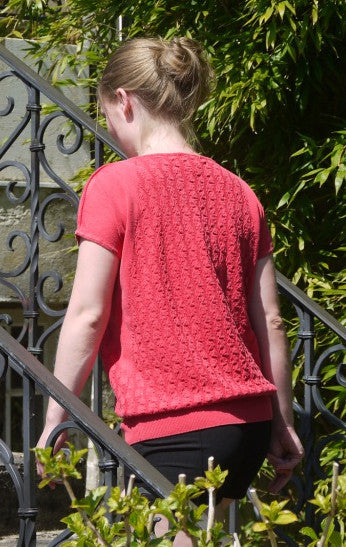 Feminine and Relaxed wing sleeved Pullover in Red for Women from Piece of Blue on model from behind