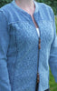 Cool and Feminine Cardigan for Women in Light Indigo Blue from Piece of Blue on model