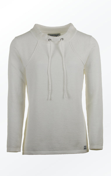 White Pullover in Feminine Knit Pattern for Her from Piece of Blue