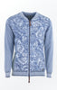 Feminine Light Indigo Blue Printed Bumper Jacket for Women from Piece of Blue