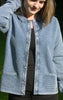 Classic Light Indigo Blue Cardigan with Collar for Women from Piece of Blue. On model 2.