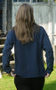 Classic Dark Indigo Blue Cardigan with Collar for Women from Piece of Blue. On model. Back.