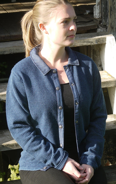 Classic Dark Indigo Blue Cardigan with Collar for Women from Piece of Blue. On model.
