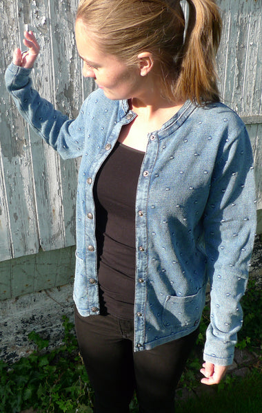 Light Indigo Blue Cardigan with Knitted Dot Pattern for Women from Piece of Blue. On model.