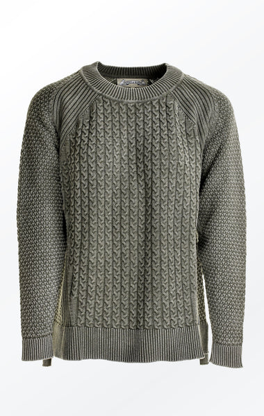 Thyme Green Loose Fit Pullover with Knitted Cables for Women from Piece of Blue