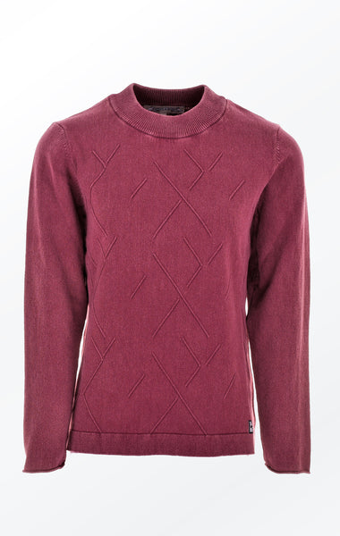 Dusty Burgundy Red Pullover with Geometric Knit Pattern from Piece of Blue