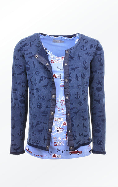 Pretty Indigo Blue laser Printed Cardigan with a t-shirt for Women from Piece of Blue