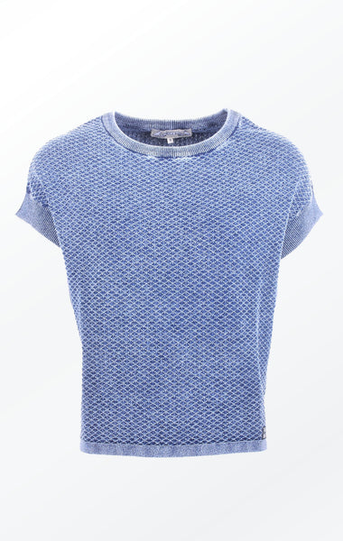 Feminine Short-Sleeved Indigo Blue Knitted Pullover for Women from Piece of Blue