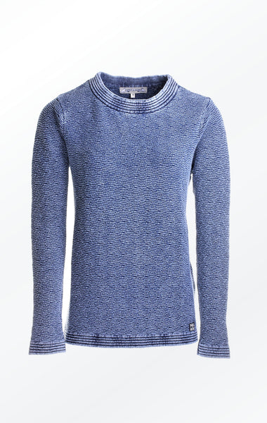 Feminine Indigo Blue Knitted Pullover for Women from Piece of Blue