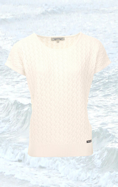 Feminine short-sleeved Pullover in white for Women from Piece of Blue
