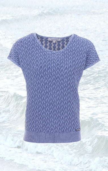 Feminine short-sleeved Pullover in Blue for Women from Piece of Blue
