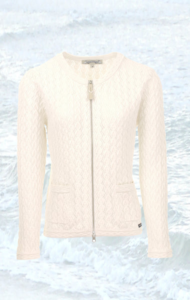 Pretty and Feminine Knitted Cardigan in broken White for Women from Piece of Blue