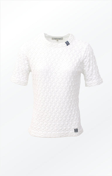 PULLOVER WITH SHORT SLEEVES AND A PRETTY KNIT PATTERN - WHITE
