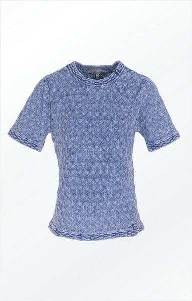 PULLOVER WITH SHORT SLEEVES AND A PRETTY KNIT PATTERN - LIGHT INDIGO BLUE
