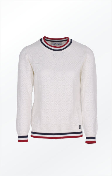 PULLOVER WITH A PRETTY KNIT PATTERN - WHITE