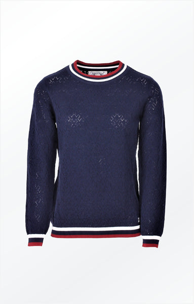 PULLOVER WITH A PRETTY KNIT PATTERN - NAVY BLUE